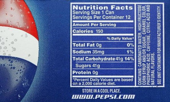 20 Oz Bottle Of Pepsi Nutrition Facts Image Collections